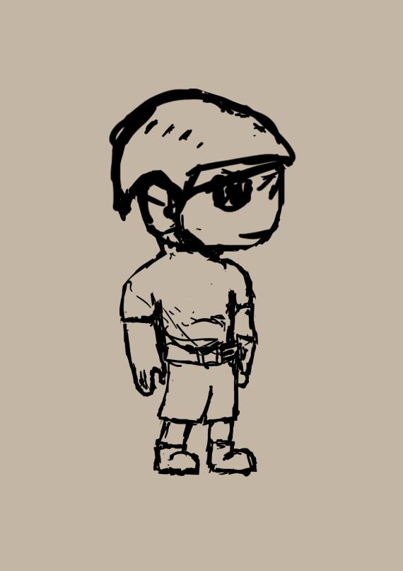 A crude sketch of a boy